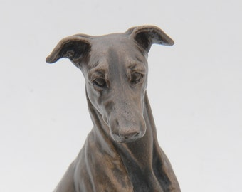 Whippet Sitting - Small Cold Cast Bronze Dog Statue