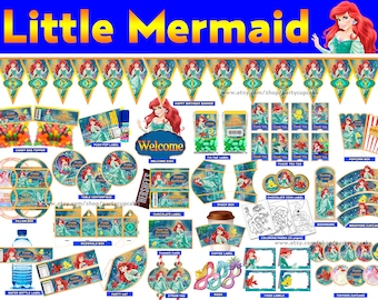 80% OFF SALE Little Mermaid Decorations Full Printable Package - Instant Download - PDF Files - High Resolution - Holiday Party