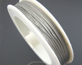 Steel Wire Tiger Tail Beading Wire Antique Silver 0.3mm, 1 Roll(Approx 50M)