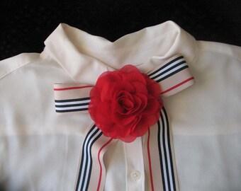 Cream, Black & Red Stripe Scarf with Flower