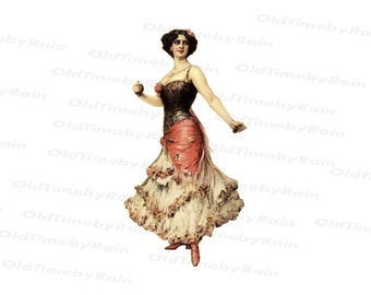 Vintage Beautiful Lady/ Spanish Dancer/ Romantic Lady/Victorian woman/Png File Download