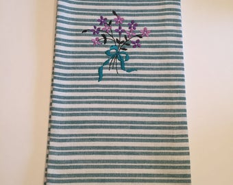 Embroidered Bouquet of Flowers Kitchen Towel