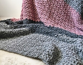 Chunky Crochet Wool Blanket - Striped Throw - The Plymouth Afghan