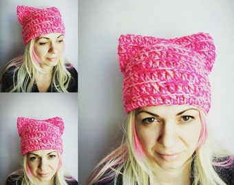 Pink Pussy cat Hat Pussy Hat Women Valentine's Gift Girl Cat Hats Animal Hat for Girl Women Pink Hat with Ears Cat Hat PussyCat Hat