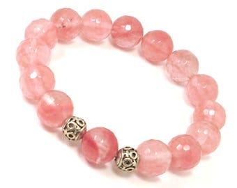 Faceted Cherry Quartz Bracelet 12mm beads, Handmade Bracelet, Womens Bracelet, Bracelet for Women, Natural Gemstone Bracelet,Beaded Bracelet