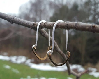 Hammered silver-plated and copper wire earrings