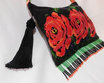 Evening Roses breaded purse and bird coiner
