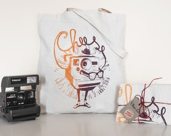 Tote bag, Polaroid camera, say cheese, camera illustration, photo bag, photographers bag, cotton tote, cotton shopper