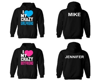 i love my boyfriend and girlfriend matching hoodies Couple hoodie he she is my one and only his and hers couple matching sweat shirt couple hoodie - love her to death love him to death matching.