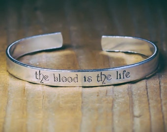 The Blood Is The Life / Literary Jewelry / Literary Gift / Quote Jewelry / Literary Bracelet / Dracula Jewelry / Vampire Jewelry