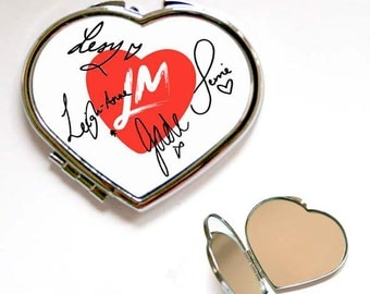 Little Mix Autograph Square or Heart Shape Compact Mirror, Handbag mirror, Accessories, Make Up Mirror, Gift, Present