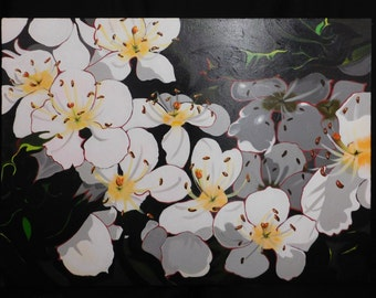 Hawthorn Original Acrylic Painting on Boxed Canvass