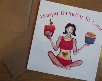 Yoga birthday greeting card. Lotus and cupcake design.