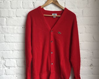 Vintage 80's Izod Lacoste Button Down Cardigan Sweater Size Medium Large Made in USA Retro 80s 1980s