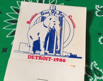 1980 Republican convention Grand Ole Party Detroit giant matchbook president Trump Ronald Reagan George Bush