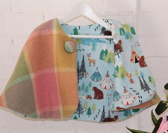 vintage upcycled woollen cape - girls size 5/6