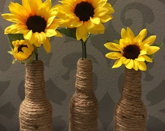 Farmhouse Decor - Rustic Wedding Decor - Sunflower Vase - Jute Wrapped Bottle - Up Cycled Bottle