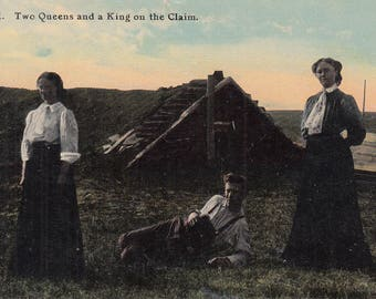 Vintage Montana Postcard - Two Queens and a King, Homestead Act of 1862