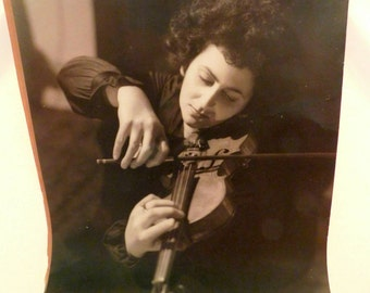 Large Vintage photograph of woman playing violin circa 1940s sepia SHIPPING INCLUDED