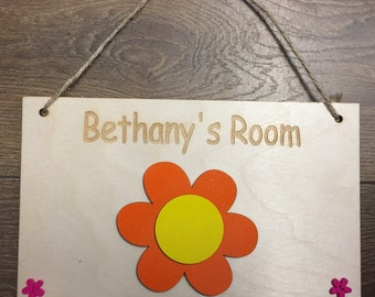 Girl's Room Name Plaque, Children's Name Sign, Baby Name Plaque, Flower Name Plaque, Flower Child's Name Bedroom Plaque, Girl's Bedroom Sign