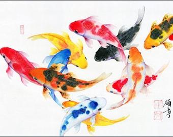 Koi fish painting etsy for Koi fish gifts