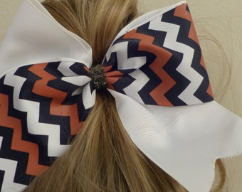 Cheer Bow White with white red and black chevron