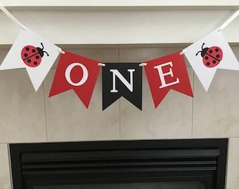 Ladybug One Banner, Ladybug Highchair Banner, First Birthday, 1st Birthday Banner, One Banner, Photo Prop, Baby's First Birthday, Cake Smash