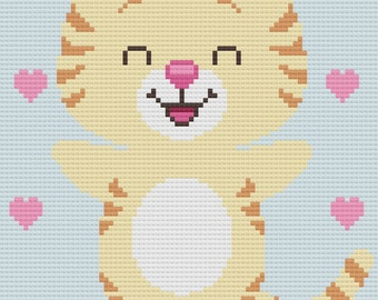 Cat C2C Crochet Afghan Blanket Pattern