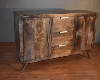Rustic Reclaimed Solid Wood Sideboard Buffet / Console Table With 2 Doors  And 3 Drawers