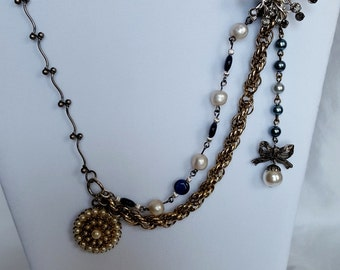 Vintage Pearls Cabochons Layered Chain Blue Pendant Necklace  22 inch