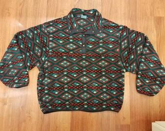Vintage Woolrich Fleece Half Snap Size L Aztec Print Woolrich Fleece