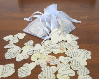 vintage book love heart confetti/scatters