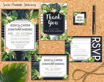 Komorebi tropical palm wedding invitation kit