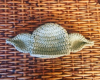 Baby Yoda Hat, Crocheted Yoda Hat, Newborn Yoda Hat, Star Wars Baby Hat