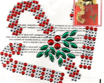 Christmas Candy Cane  Gem Bling Scrapbook Craft Stickers Recollections Color Splash Greeting Cards