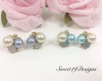 Bijou stud earring,  Bijoux earrings, cotton pearl earrings, crystal earrings