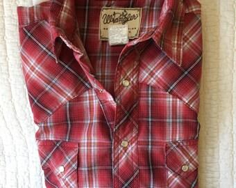 Vintage Wrangler Plaid Western Snap Shirt Men's Size Medium
