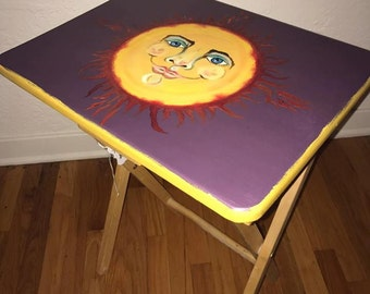 Hand Painted Side Table | Sun Painting | Folk Art