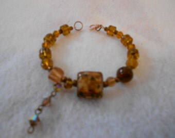 Bohemian Amber and Copper Bracelet
