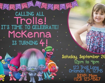 Trolls Invitation, Trolls birthday, Troll invites, Dreamworks Trolls invite, Trolls party, Trolls Printables, troll birthday invitation