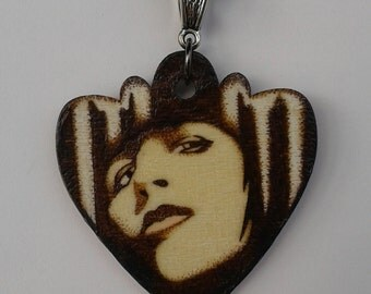 Marilyn Manson High End of Low Woodburned Portrait and Eat Me Drink Me Double M Heart Shaped Necklace