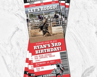 Rodeo Birthday Invitations, rodeo, tickets, stubs, pbr, pro bull riding, digital file, printable