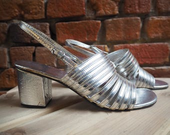 Women's 70s Silver Sling Back Strappy Heels Heeled Sandals Shoes Size US 7