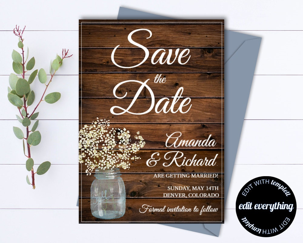 rustic save the date wedding template country save the date