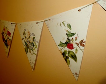 Paper Bunting/Country flowers/Summer Wedding Pennants/Victorian Lady/Upcycled Bunting Book Page Bunting