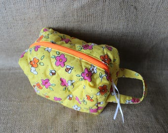 Quilted Zipper Pouch - yellow, flowers and bees (cosmetic bag, toiletry bag, carryall)