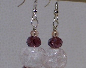 Pale pink and purple dangle earrings