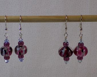 Purples & blue dangle earrings (purple, dark purple, and blue)