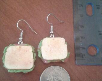 Ham Sandwich Polymer Clay Earrings Chef Gift Food
