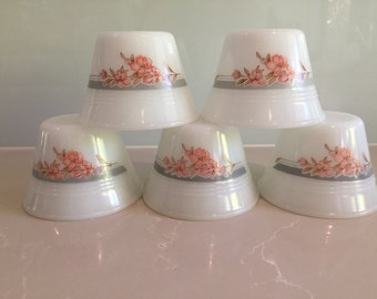 Vintage Indopal Milk Glass Custard Cups